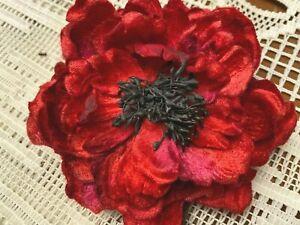 "Millinery Flower Leaves 4.5"" Velvet 1pc Stamens Blood Red Clip/ Pin"