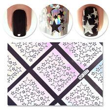 Women 9 Tips Laser Star Nail Vinyls Stencils Hollow Nail Sticker Nail Art Tool