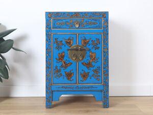 chinesische Kommode Sideboard 1 Schublade 2 Türen bemalt blau #M-KOM-Y676