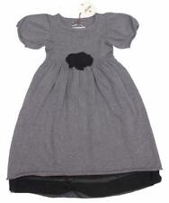 SAURETTE Designer Boutique Girls Gray Sweater Dress Rosette Flowers 6-7 NWT nb