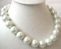 Beauty 16mm AAA white south sea shell pearl round beads necklace 18 Inches