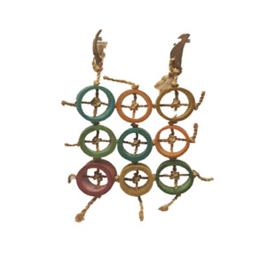Bird Toy Abaca Natural Parrot bamboo coconut Ring of Fortune Large