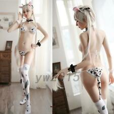Women Anime Cow Cosplay Costumes Japanese Uniform Three-point Sexy Lingerie AU
