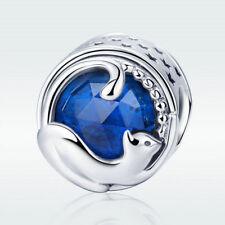 Happy Kitty Cat S925 Sterling Silver Charm Blue Bead Fit Bracelet Chain Jewelry