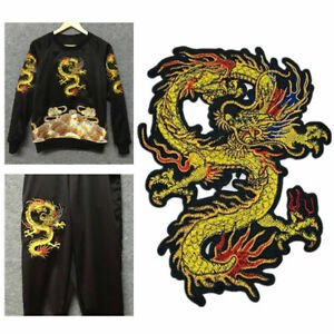 Chinese Dragon Patch Embroidery Embossed Sew Iron On Clothes Applique DIY Craft