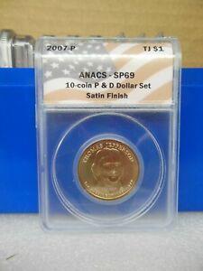 2007-P Jefferson Golden Dollar Anacs SP69  Satin Finish **A Near Perfect Coin**