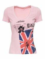 JOHN GALLIANO Damen Kurzarm T-Shirt Shirt rosa England Print NEU Etikett NP 120€