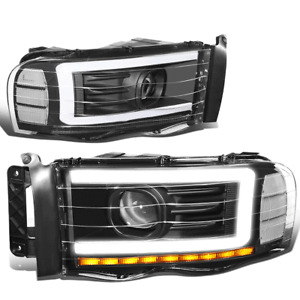 For 2002-2005 Dodge Ram LED DRL Sequential Turn Signal Projector Headlight Black