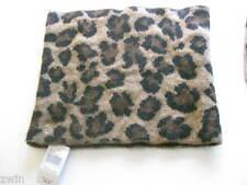 designer Ralph Lauren Leopard Print Cowl Neck Scarf Infinity Short lambswool bl