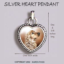 Cocker Spaniel Dog Blonde - Ornate Heart Pendant Tibetan Silver