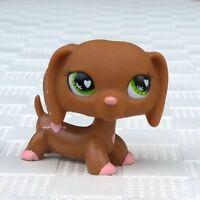 Littlest Pet Shop LPS Toys Figure #556 Daschund Dog Pink Heart With Green Eyes