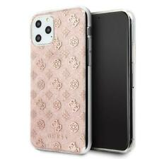 Guess 4G Peony Solid Glitter Schutz Hülle Case Cover Pink f. Apple iPhone 11 Pro
