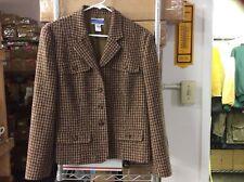 PENDLETON Women's Brown Wool Plaid Career Work Dressy Jacket Blazer Coat Size 12