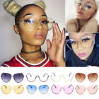 New Oversized Designer Aviator Eyeglasses Metal Frame Clear Lens Women Glasses