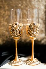 Gold Wedding Flutes Toasting Glasses Wedding Table Decor Anniversary gift 2 pcs