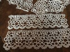 Antique Tatted Lace Set Round Collar and Cuffs