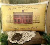 FOLK ART VINTAGE PRIMITIVE ANTIQUE AMERICANA STYLE SHAKER SERVE THE LORD PILLOW