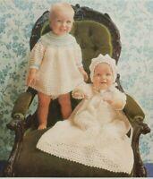 "Crochet Pattern Baby Dress Robe Bonnet Christening Smocked 18"" 8367 B&W Copy"