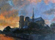 Original oil Impressionist Notre Dame Paris, direct from the artist J Smith.