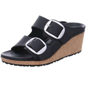 Birkenstock Papillio Nora Big Buckle Oiled Leather Black Wedge Plateau Sandals n
