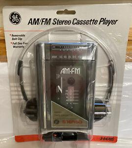 GE AM/FM Stereo Cassette Player + Headphones + Batteries NEW VTG NIP 3-5470S