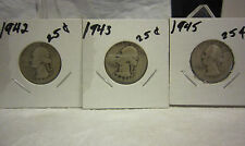 Washington Silver Quarter Lot One Each 1942 1943 1945 Philadelphia Mint Lot # 2
