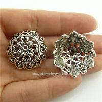 18673 8pcs Vintage Silver Totem 25mm Beads Cap Tassel End Flower Filigree New