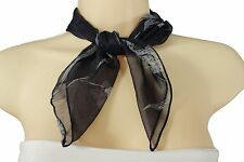 New Women Mini Sheer Pocket Square Scarf Neck Warmer Head Cover Navy Blue Floral