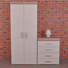 2 Door Wardrobe 4 Drawer Chest in White Sonoma Oak Bedroom Furniture Drop
