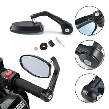 BLACK MOTORCYCLE HANDLE BAR END MIRRORS CNC ALUMINUM UNIVERSAL CAFE RACER BOBBER