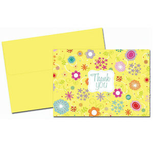 Colorful Spring Flowers Wedding Thank You Notes 24/pk with Envelopes