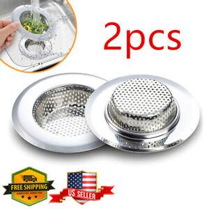 """2PCS 4.5"""" Kitchen Bathroom Sink Strainer Stainless Steel Filter Drain Strainer"""