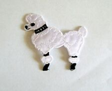 ANIMAL - DOG / WHITE POODLE EMBROIDERED IRON ON APPLIQUE / PATCH