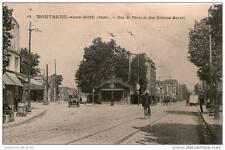 CPA 93 - MONTREUIL SOUS BOIS - STATION ESSENCE + LA LIGNE DE TRAM RUE DE PARIS