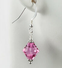 Pink Bicone Crystal Earrings made with Swarovski Crystals Bali Sterling Silver