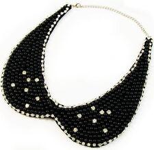 COLLAR NECKLACE handmade WOMEN BLACK pearl fashion choker rhinestone crystals