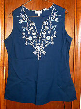 NEW Fashion Bug Sweet Navy Cotton Blouse with Floral Embroidery-Small*