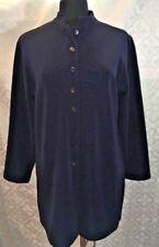 Chicos Womens Navy Blue Blazer Pea Coat Jacket L 12 Band Collar