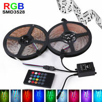 10M 2x5M 3528 SMD RGB 600LEDs LED Strip Lights Lamp + Music IR Remote Controller