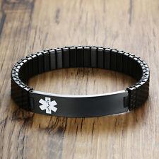 Men Medical Alert ID Spring Bracelet Bangle Black Stainless Steel Free Engraving