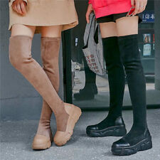 Thigh High Boots Women Leather Round Toe Over Knee Fashion Sneaker Boots Oxfords