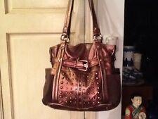 B Makowsky Copper Metallic & Brown Leather Suede Shoulder Handbag Studs