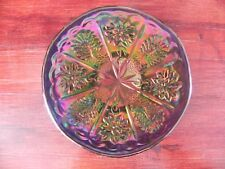 Fenton Carnival Art Glass Peacock Dahlia Flower Pattern Plate