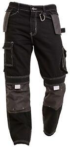 Mens Black Cargo Pants Knee Pad Pocket Combat Outdoor wear Warehouse Trouser