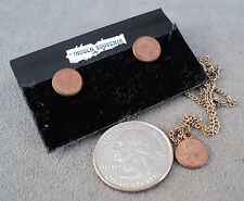 Vintage Miniature Lincoln Penny US Coin Earring & Necklace Set - Estate Find