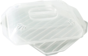 Microwave Bacon Grill Cooker Bacon Rack With Lid White NEW