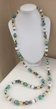 Premier Designs Long Beaded Necklace w/ Art Glass Flower Beads Turquoise Silver