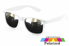 White Wayfare Sunglasses Mirror Polarised Lens Retro Vintage Mens Ladies UV400