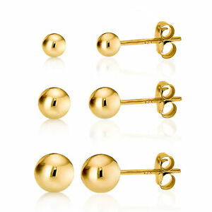 14K Gold over 925 Silver High Polish Smooth Round Ball Stud Earring 3-Size Set