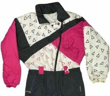 Vintage Slalom Pink Black 80's Deco Zip Up Ski Suit Snow Board Bib Womens Sz 8